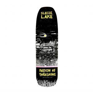 Pardon My Thrashing Sleeze Lake Skateboard Deck Sleeze Shape Bottom