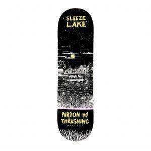 Pardon My Thrashing Sleeze Lake Skateboard Deck Standard Shape Bottom