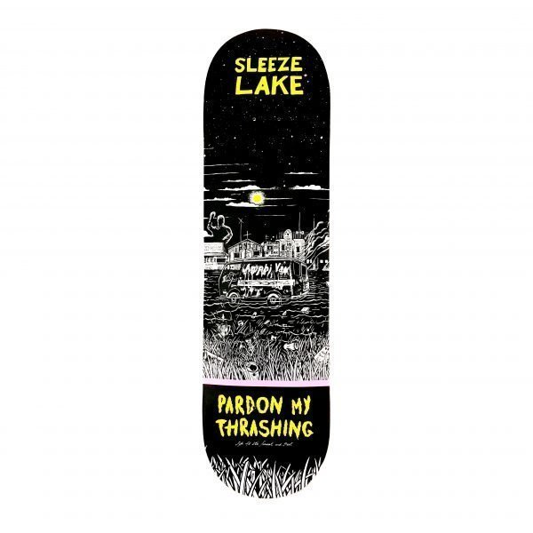 Pardon My Thrashing Sleeze Lake Skateboard Deck Standard Shape Bottom